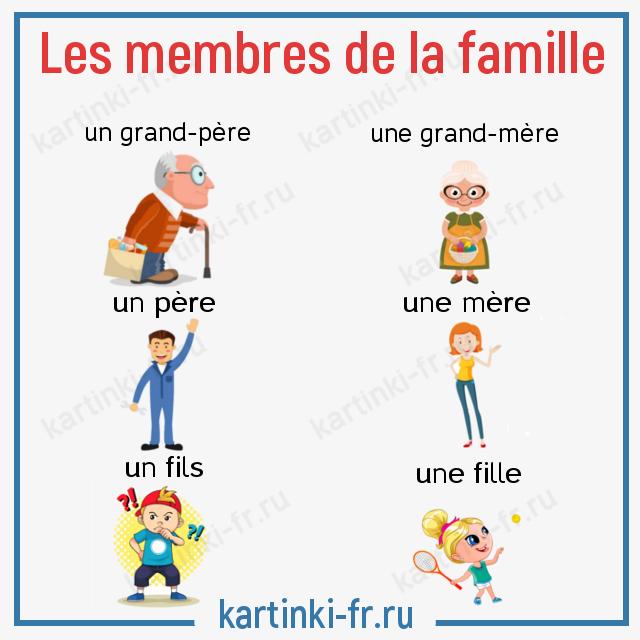 Лексика на тему Семья на французском