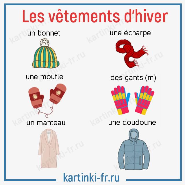 Зимняя одежда лексика на французском