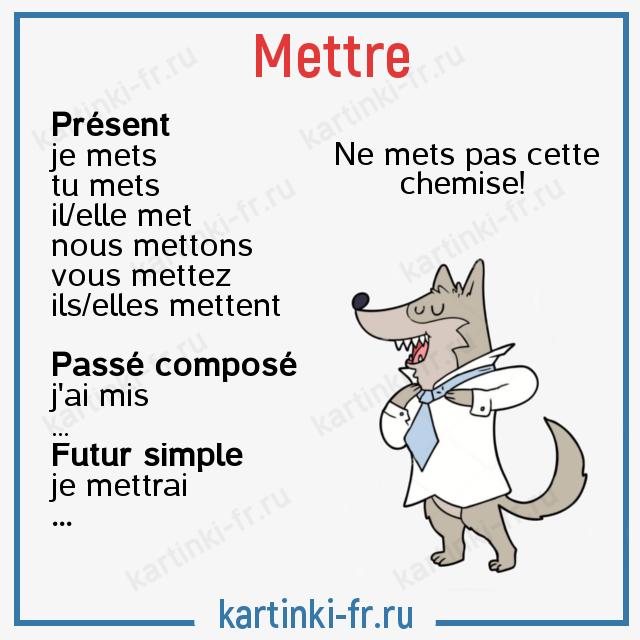 Глагол mettre спряжение на французском