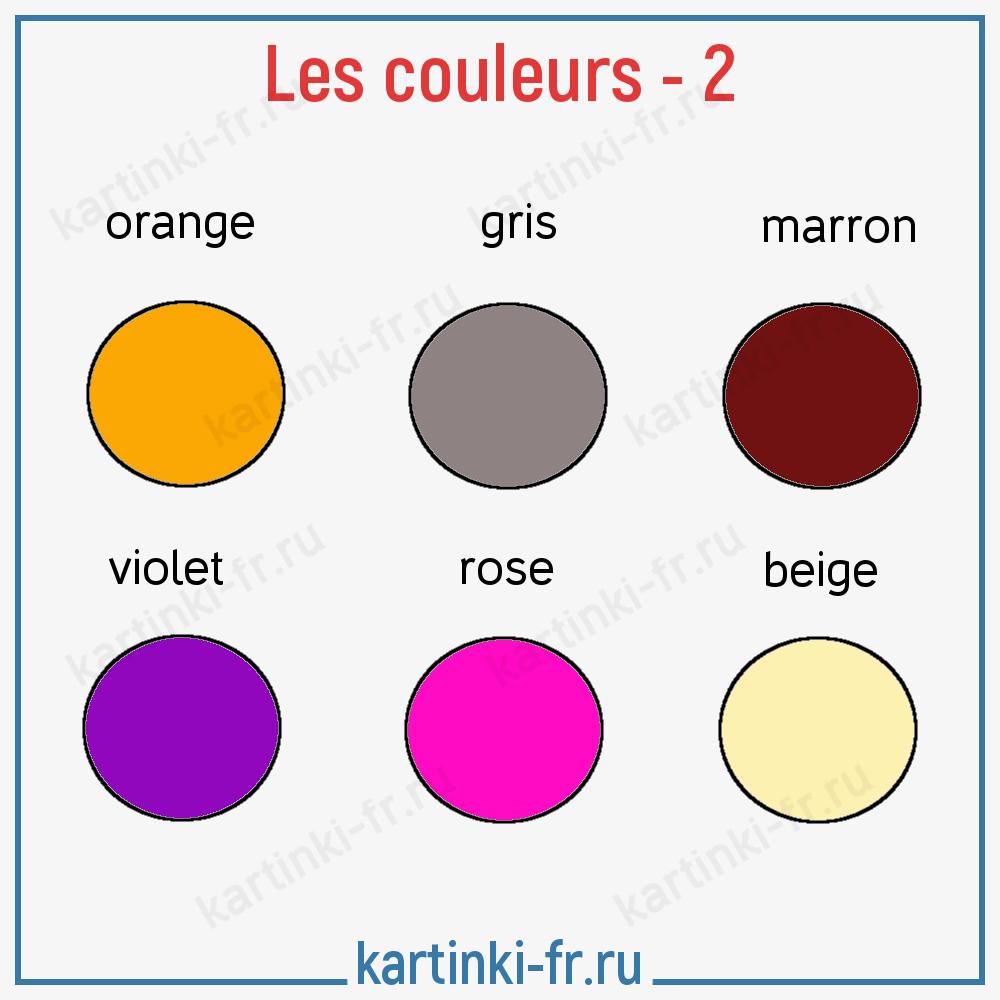 Лексика на тему Цвета на французском языке - 2 часть