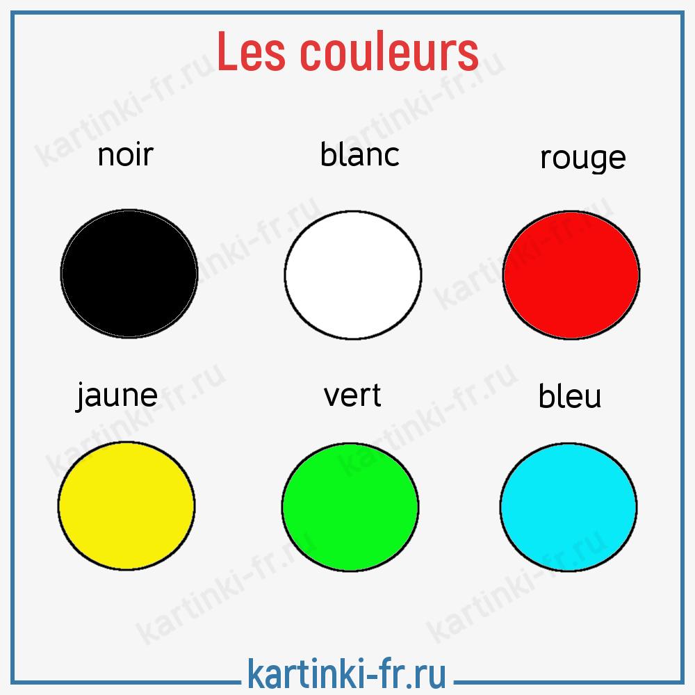 Лексика на тему Цвета на французском языке