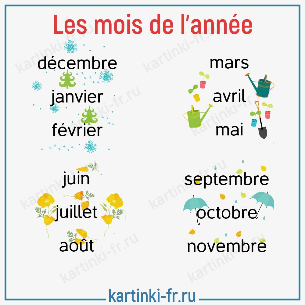 Месяцы на французском языке