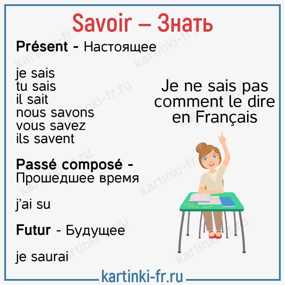 Savoir спряжение глагола на французском